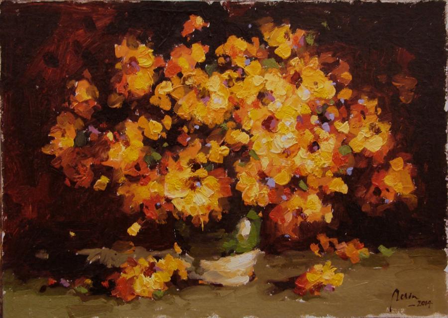 Picturi cu flori ulcica cu flori galbene