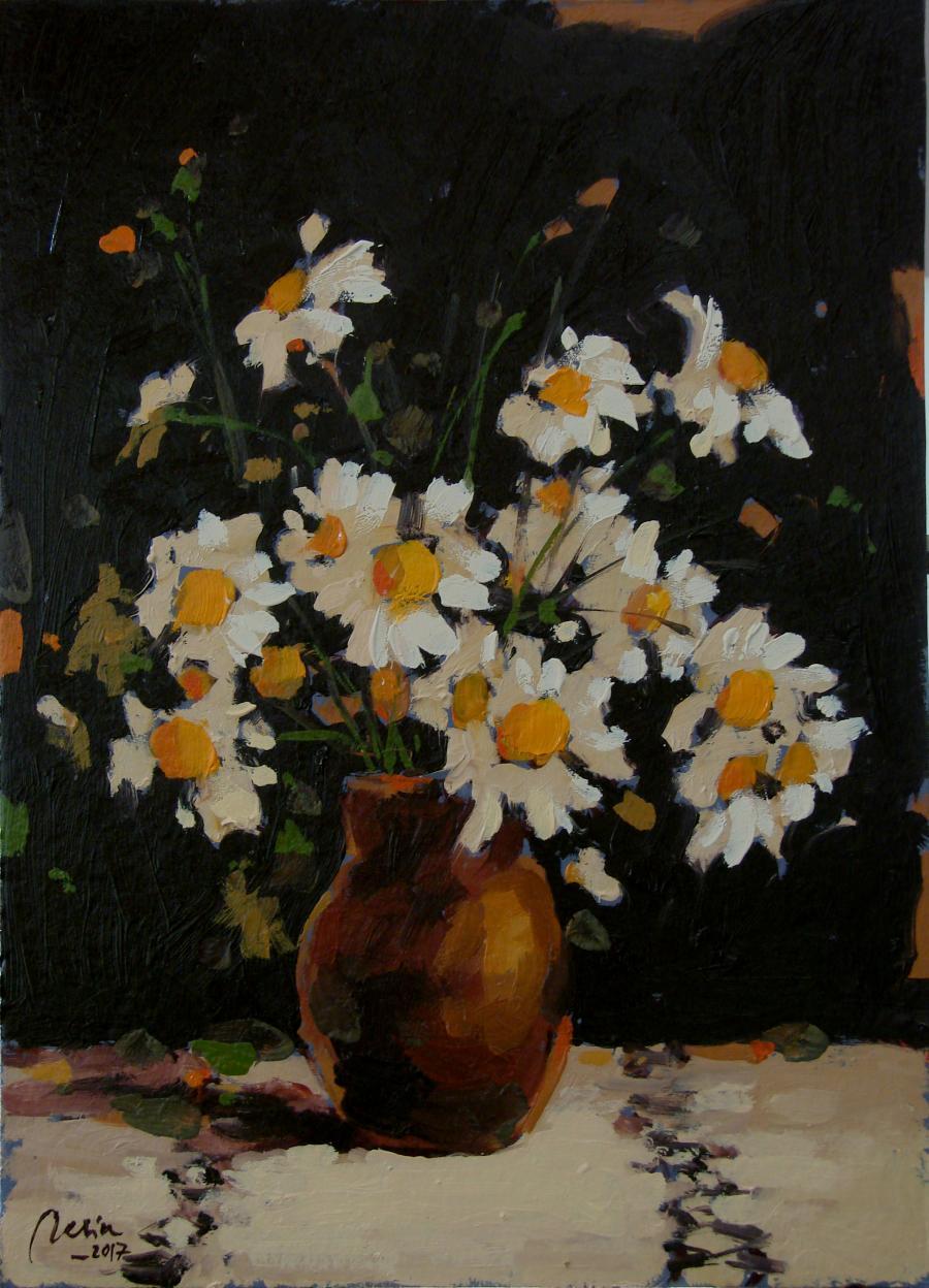 Picturi cu flori Vas de lut cu flori albe