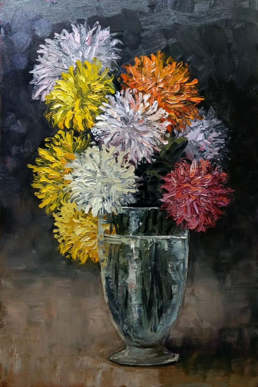 Picturi cu flori crizanteme in pahar