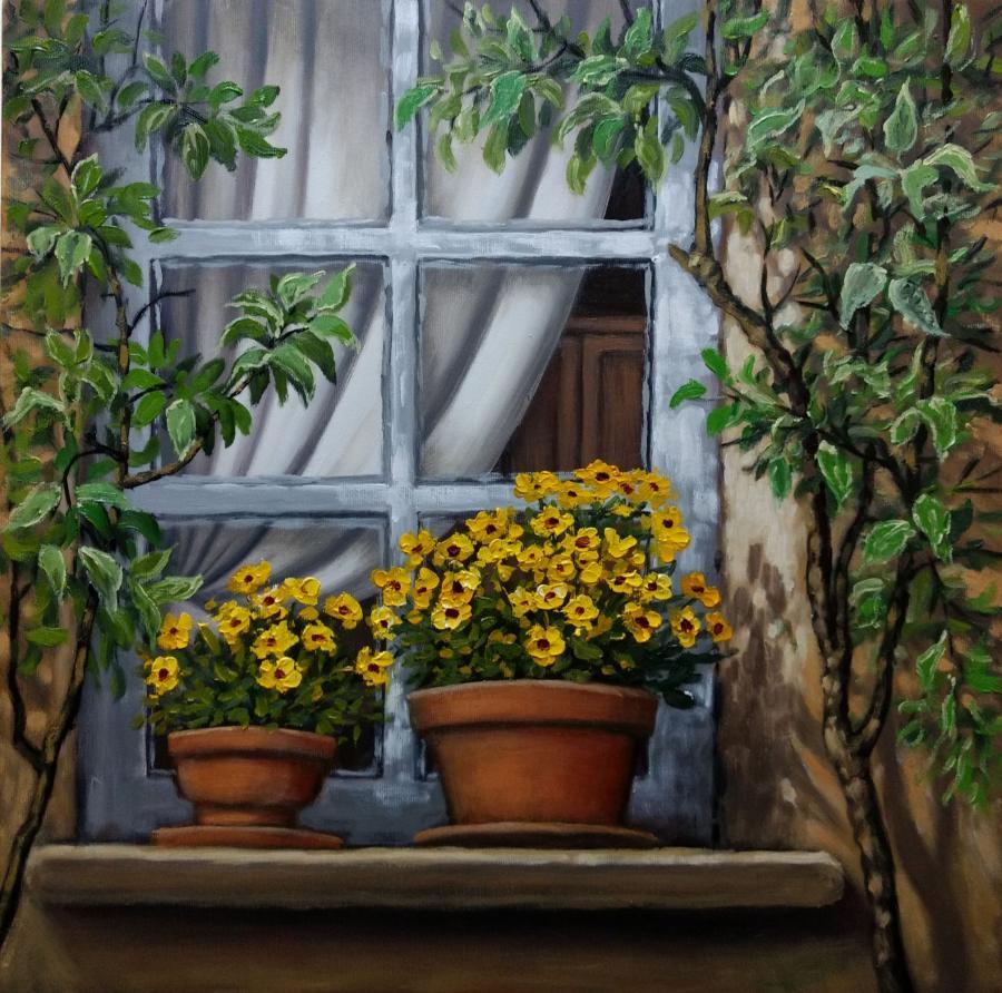 Picturi cu flori fereastra cu flori galbene