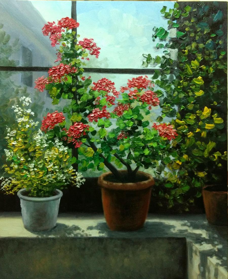Picturi cu flori Flori in fereastra 2017