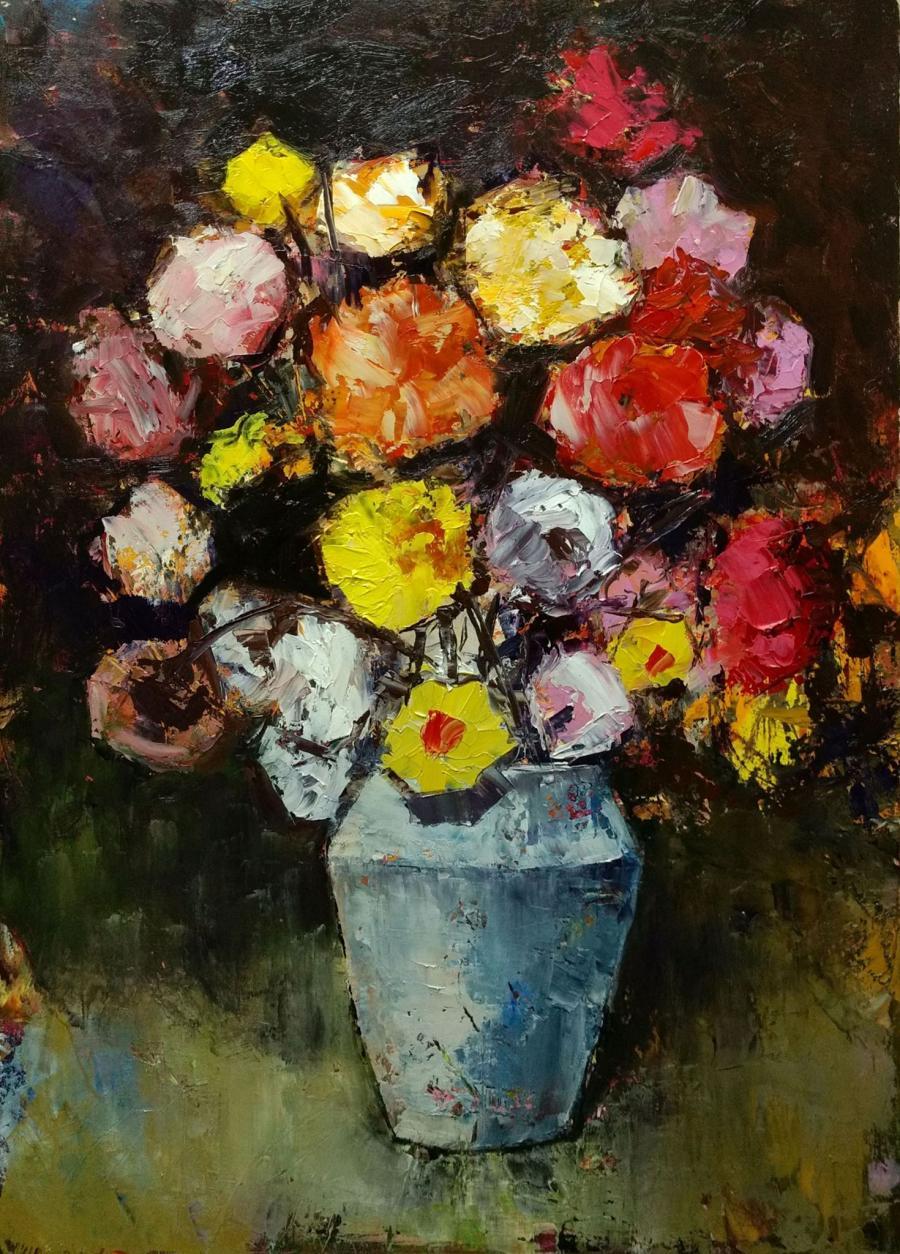 Picturi cu flori vaza alba cu flori E.S. 2017