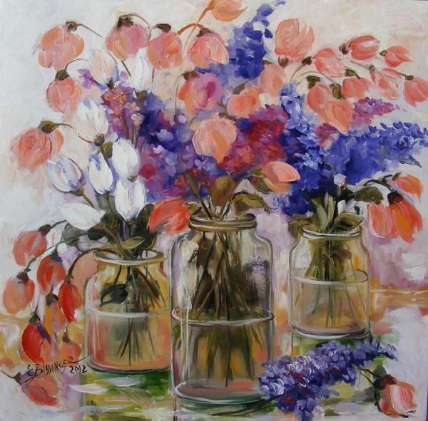 Picturi cu flori Flori la borcan