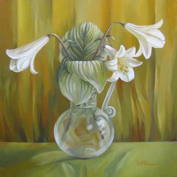 Picturi cu flori Crini in vas de sticla