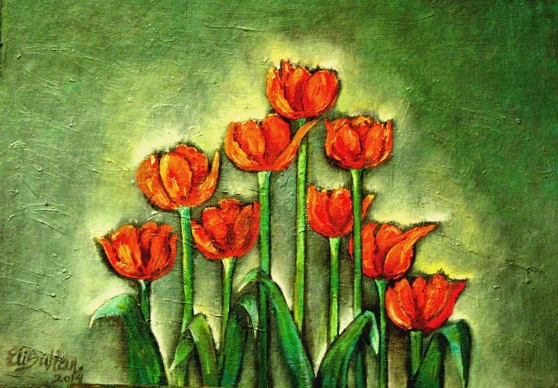 Picturi cu flori Lalele in lumina