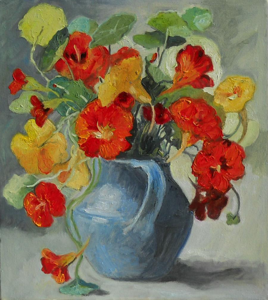 Picturi cu flori condurasi in vas albastru 2