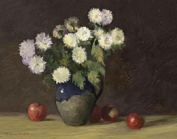 Picturi cu flori mere si crizanteme
