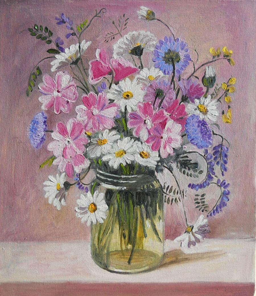 Picturi cu flori nalba si plante salbatice