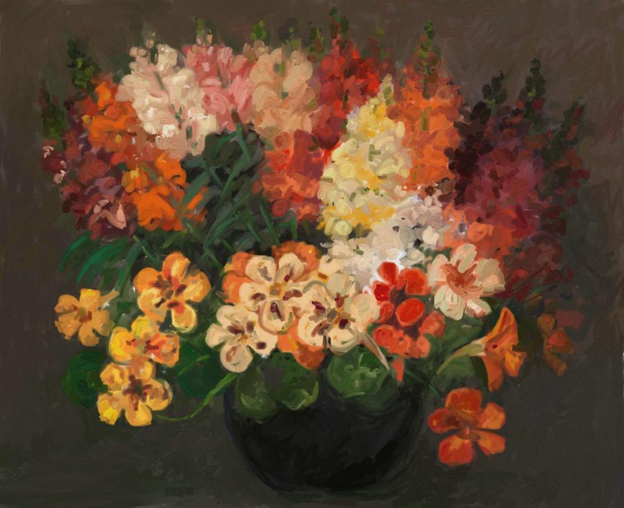 Picturi cu flori vas cu condurasi si gura leului
