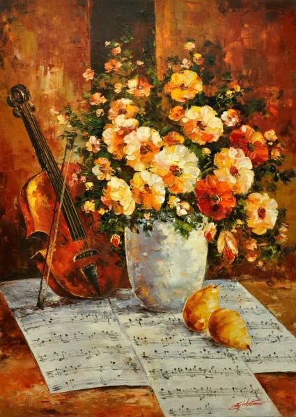 Picturi cu flori Vioara si flori