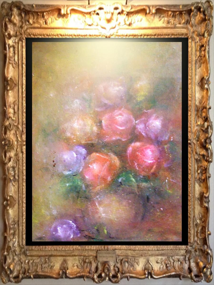 Picturi cu flori Vas cu trandafiri_