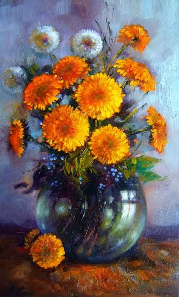 Picturi cu flori Buchet papadii