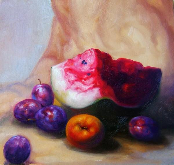 Picturi cu flori Natura statica cu pepene