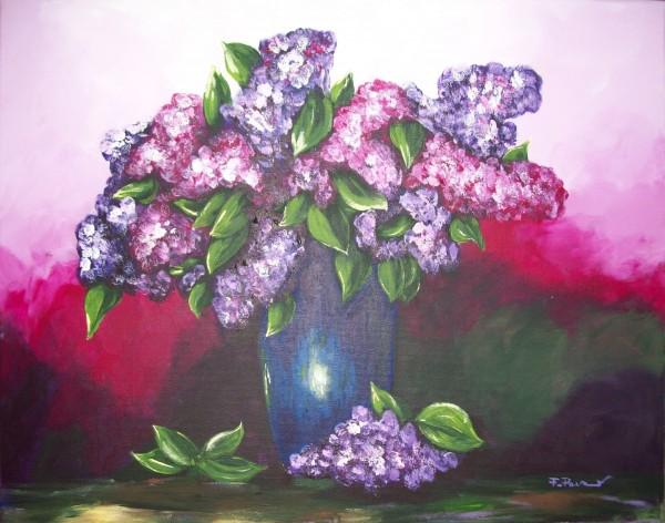 Picturi cu flori Vaza cu liliac