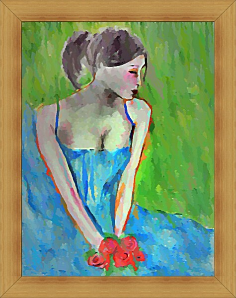Picturi cu flori Fata cu trandafiri