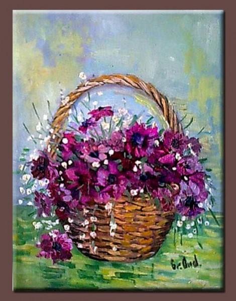 Picturi cu flori Cos cu viorele