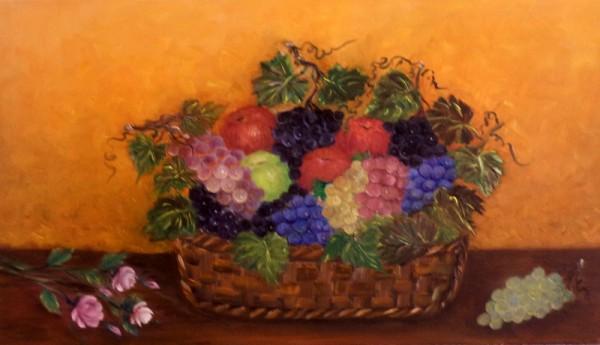 Picturi cu flori Cos cu fructe