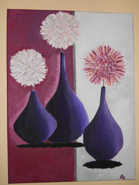Picturi cu flori Flori abstracte in vaze mov