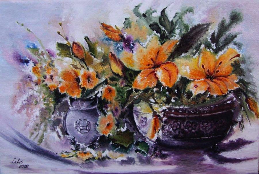 Picturi cu flori Vas cu crini
