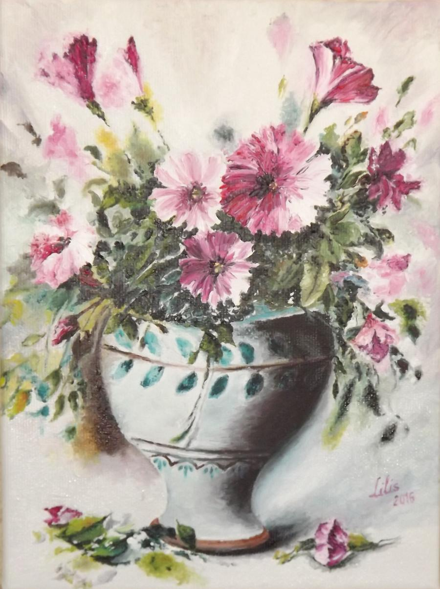 Picturi cu flori Vas cu garofite