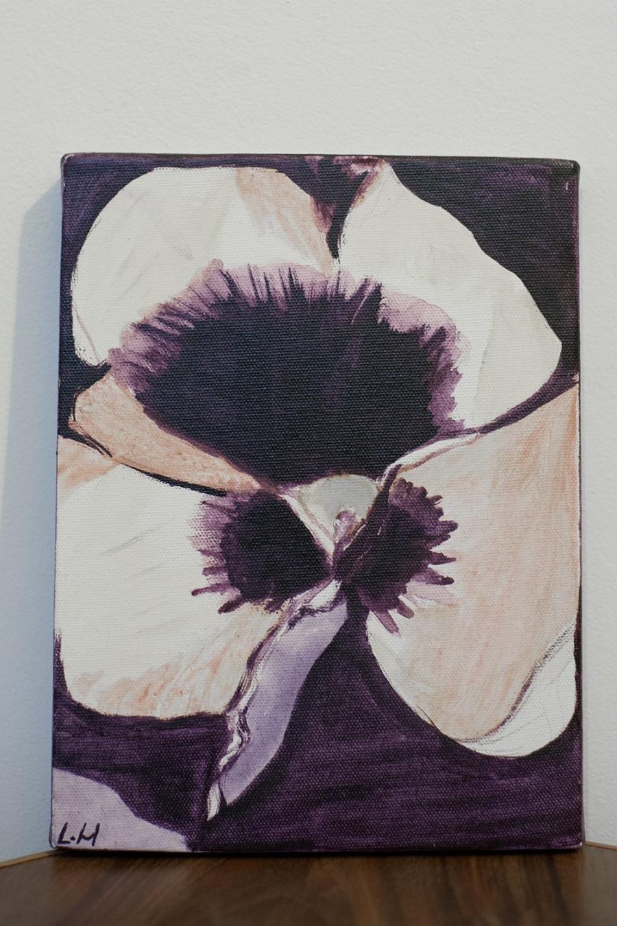 Picturi cu flori Iris alb negru