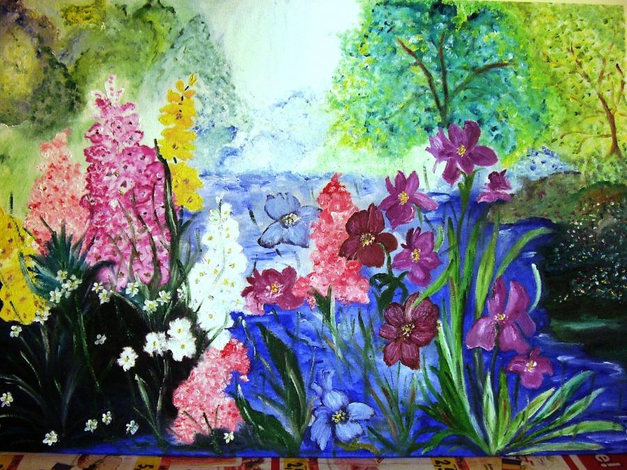 Picturi cu flori Malul cu flori