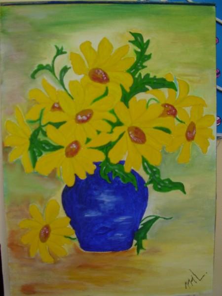 Picturi cu flori Vaza cu flori galbene