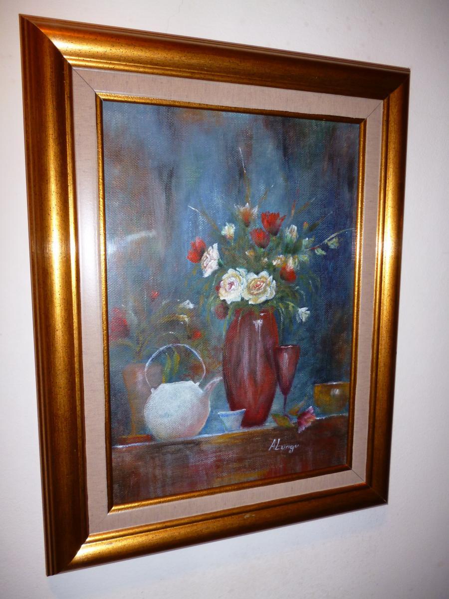 Picturi cu flori vaza cu trandafiri si maci