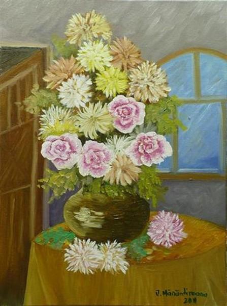 Picturi cu flori Gherghine cu trandafiri
