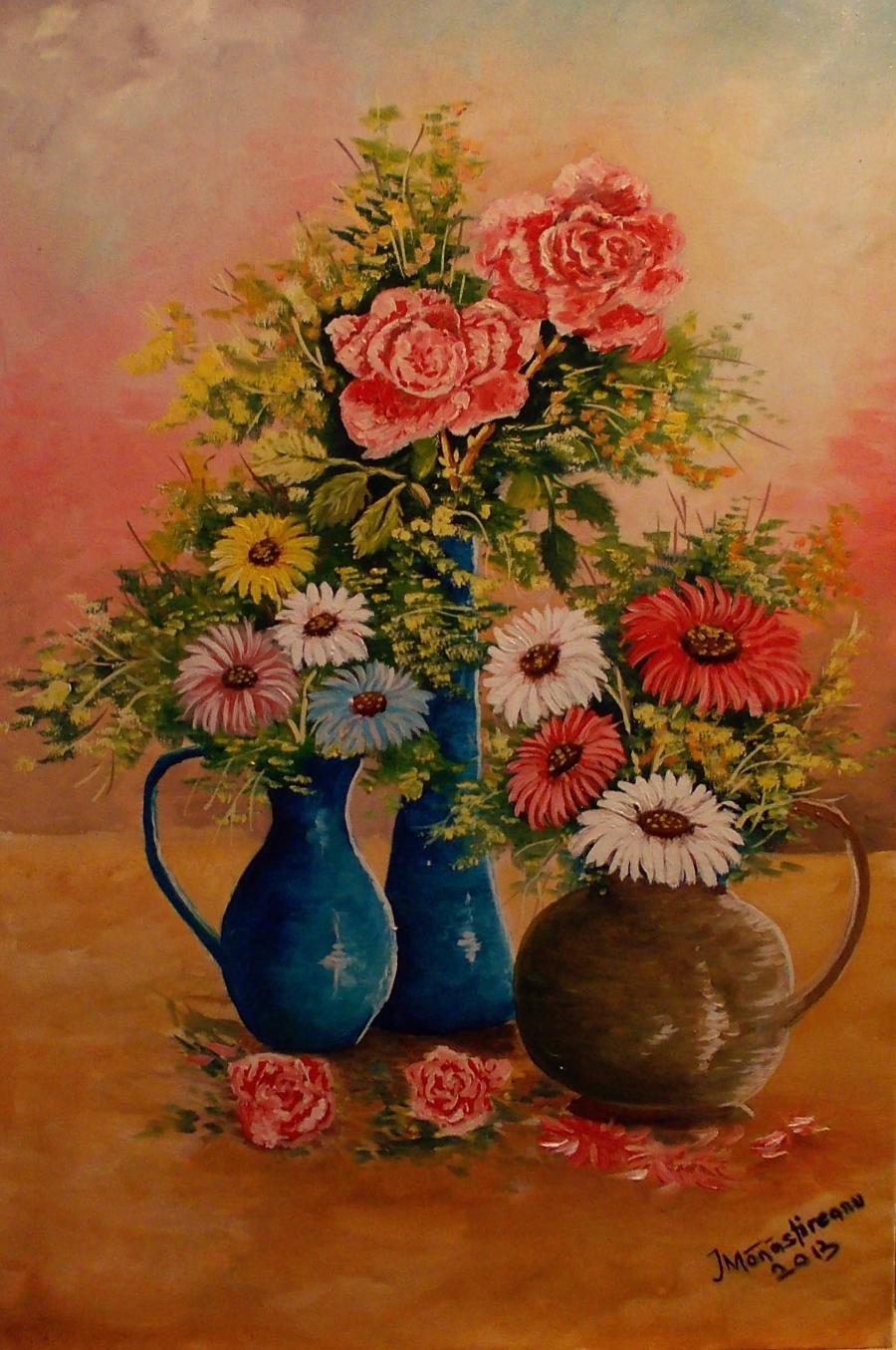 Picturi cu flori ulcele cu flori