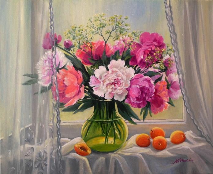 Picturi cu flori Bujori in fereastra 1