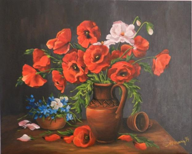 Picturi cu flori Maci in ulcica   2