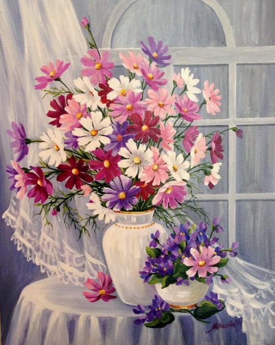 Picturi cu flori Stelute colorate 2