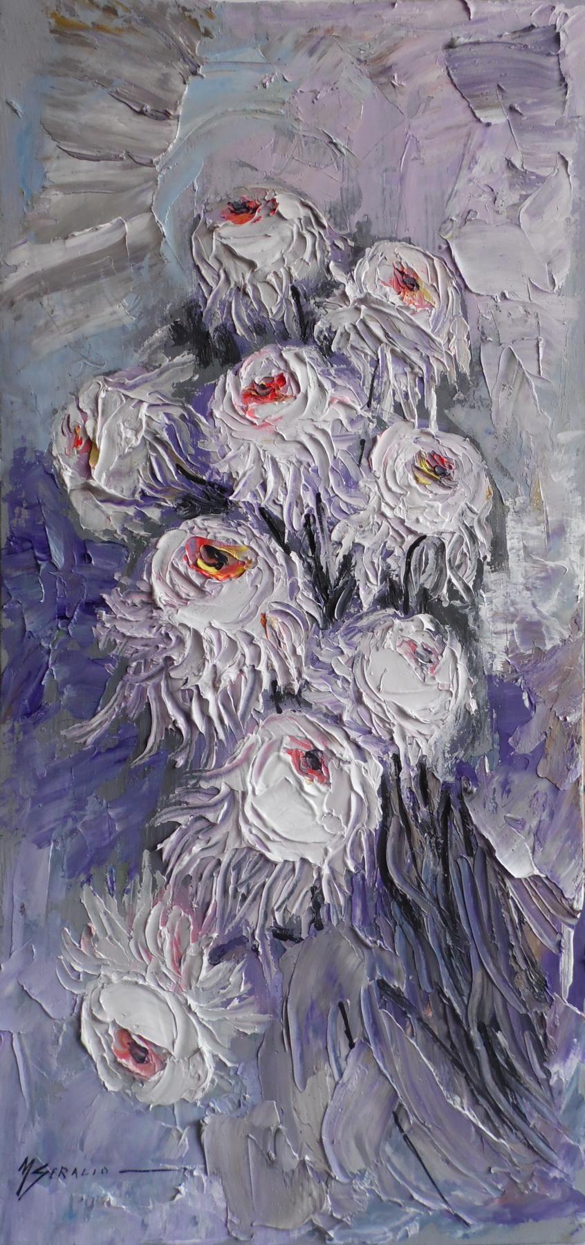 Picturi cu flori crizanteme albe -h81