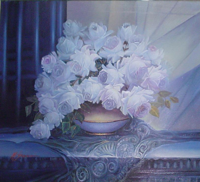 Picturi cu flori trandafiri albi cu parfum de spin