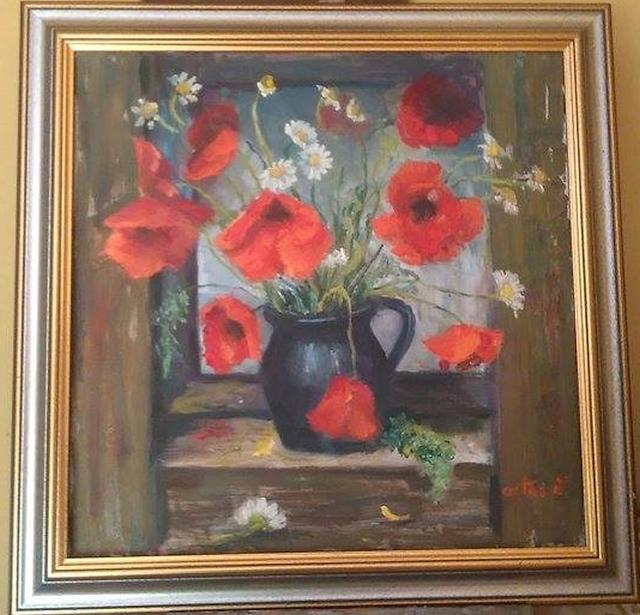 Picturi cu flori Lan de maci in fereastra