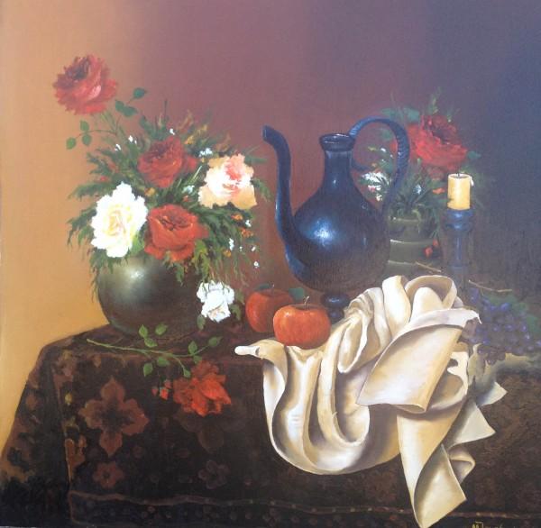 Picturi cu flori Trandafiri, fructe si samovar