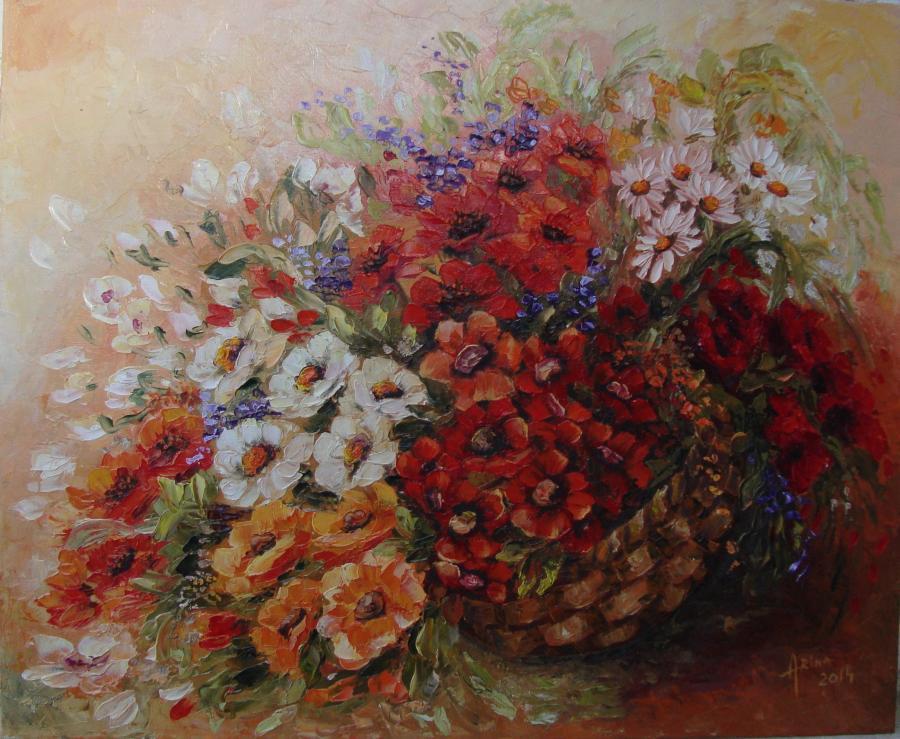 Picturi cu flori miraj colorat