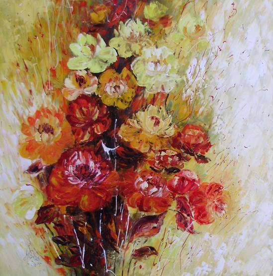 Picturi cu flori Un bujor de toamna tarzie