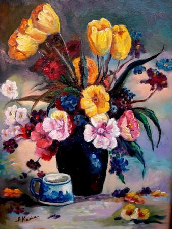 Picturi cu flori Tablou Lalele galbene3
