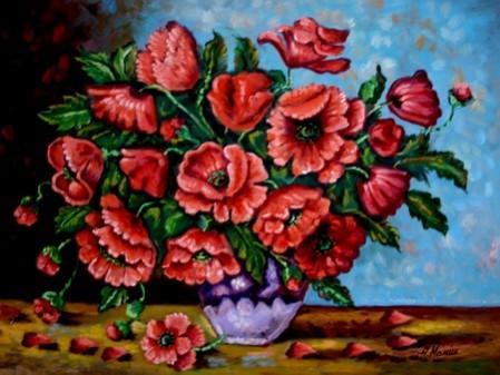 Picturi cu flori Tablou vaza cu maci3
