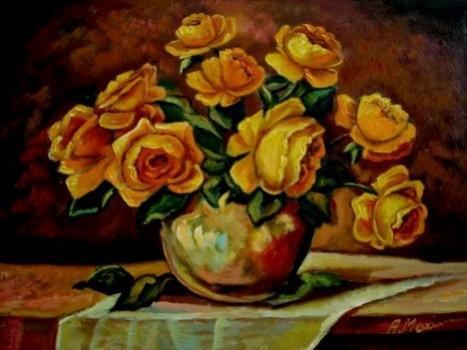Picturi cu flori Trandafiri galbeni in vaza02