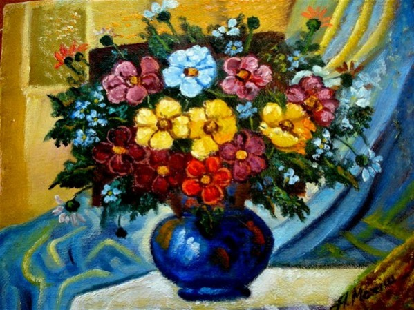 Picturi cu flori Vaza albastra cu flori1