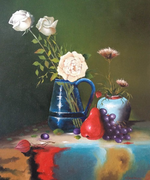 Picturi cu flori Trandafiri si fructe