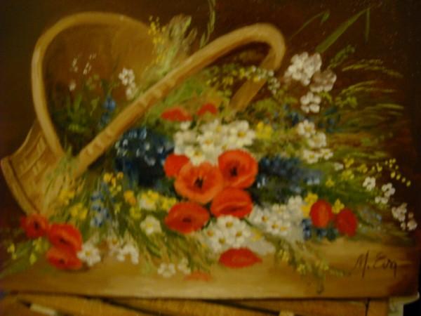 Picturi cu flori Cos rasturnat cu flori