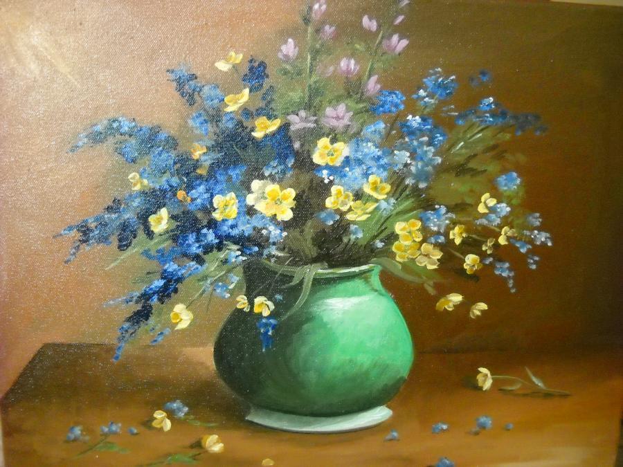 Picturi cu flori crengute albastre