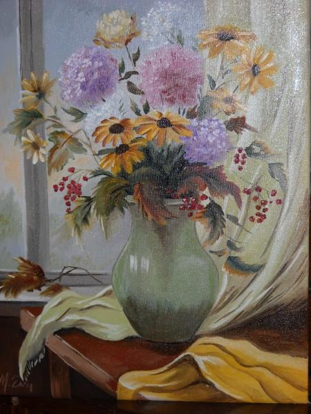 Picturi cu flori Flori de toamna in geam