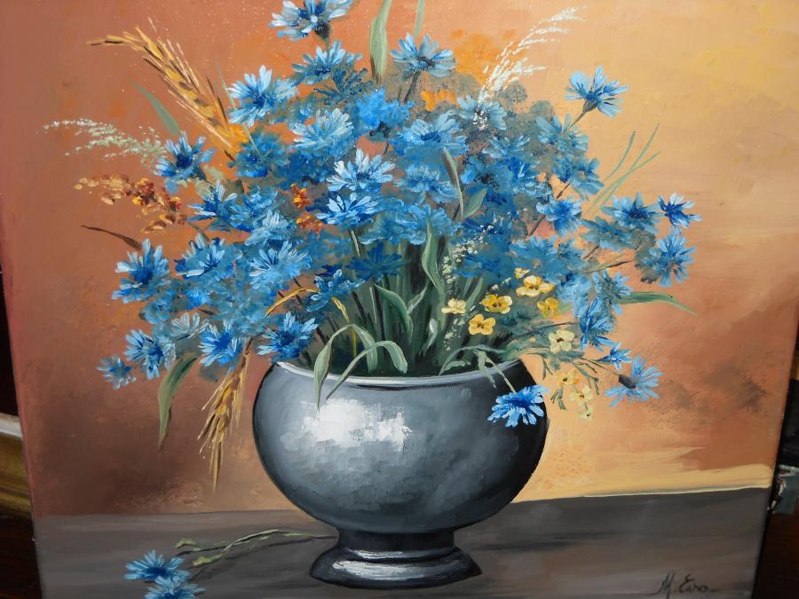 Picturi cu flori floricele albastre