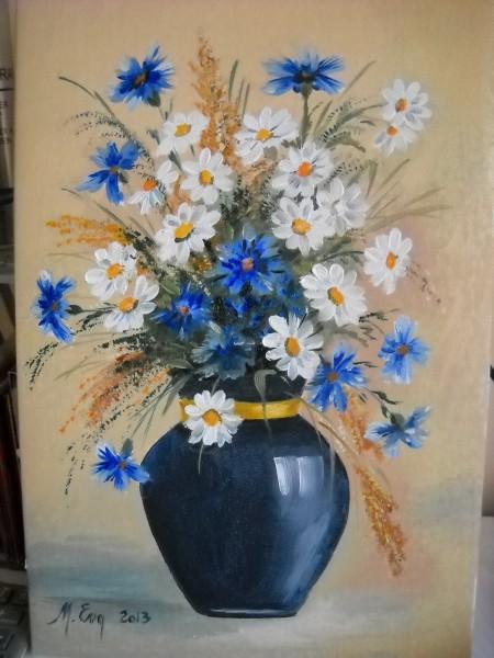 Picturi cu flori In albastru