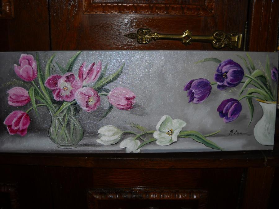 Picturi cu flori lalele asortate